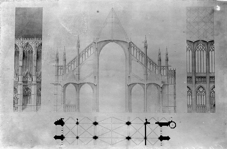 Cathédrale Sainte-Croix Elévation et plan d'une travée. Coupe transversale, Vorin,