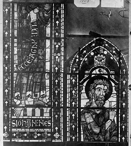 Cathédrale Saint-Etienne Vitrail : saint Jean-Baptiste, Leprévost (photographe),