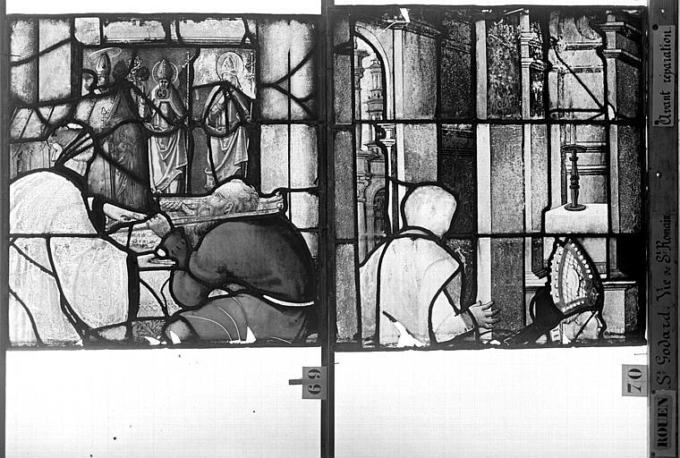 Eglise Saint-Godard Vitrail, baie 17, Vie de saint Romain, dixhuitième panneau, en haut, Heuzé, Henri (photographe),