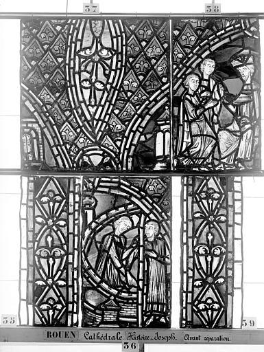 Cathédrale Vitrail, déambulatoire, baie 57, Histoire de Joseph, septième panneau en haut, Heuzé, Henri (photographe),