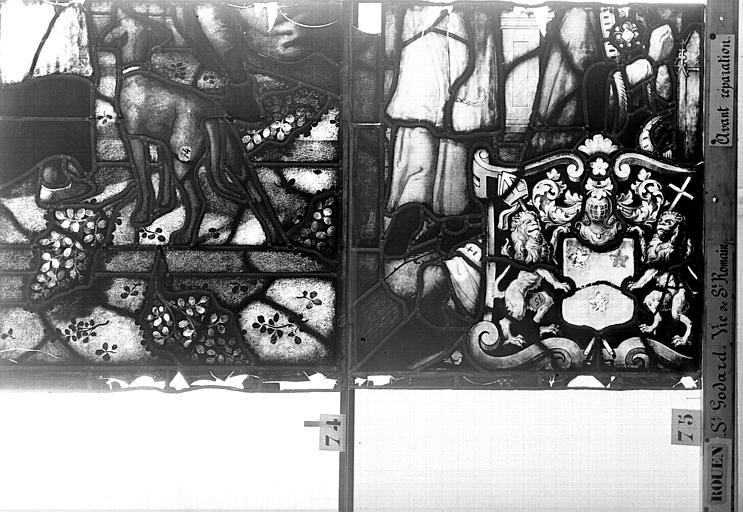 Eglise Saint-Godard Vitrail, baie 17, Vie de saint Romain, dixneuvième panneau, en haut, Heuzé, Henri (photographe),