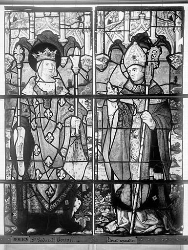 Eglise Saint-Godard Vitrail, baie 5, dessus de porte, deux saints, Heuzé, Henri (photographe),