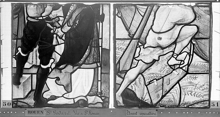 Eglise Saint-Godard Vitrail, baie 17, Vie de saint Romain, septième panneau, en haut, Heuzé, Henri (photographe),
