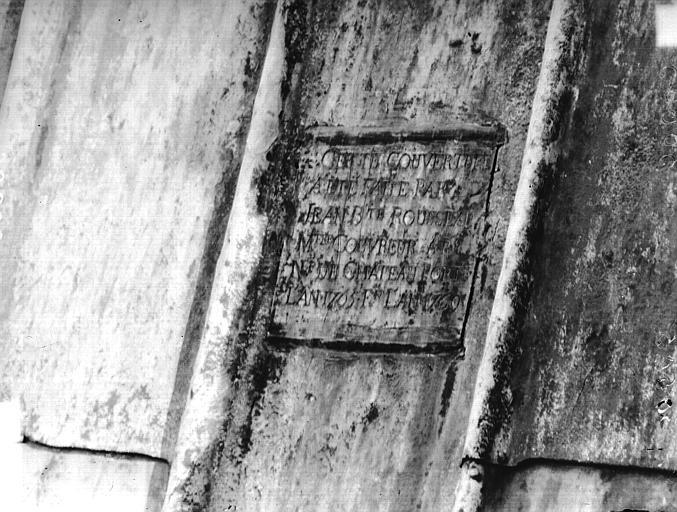 Cathédrale Notre-Dame Nef, inscription de la réfection, Lajoie, Abel,