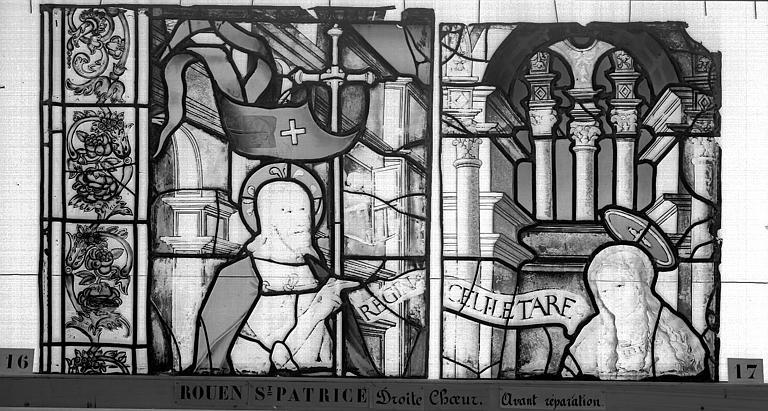 Eglise Saint-Patrice Vitrail, fenêtre droite du choeur, septième panneau, Heuzé, Henri (photographe),