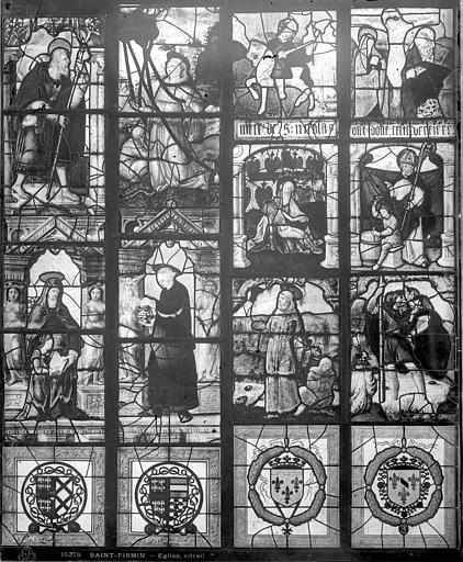 Eglise Vitrail : fragments de deux baies E et C, Leprévost (photographe),