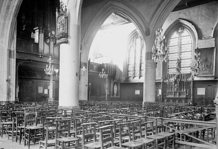 Eglise Saint-Leu Nef, vue diagonale vers le choeur, Durand, Georges (photographe à Amiens),
