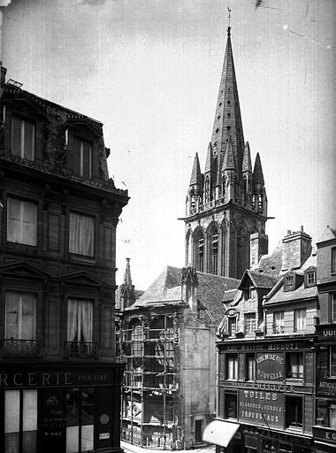 Eglise Notre-Dame-de-Froide-Rue (ancienne) ou Eglise Saint-Sauveur (actuelle) Abside et clocher, Durand, Eugène (photographe),