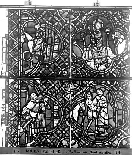 Cathédrale Vitrail, déambulatoire, baie 52, le Bon Samaritain, septième panneau, en haut, Heuzé, Henri (photographe),
