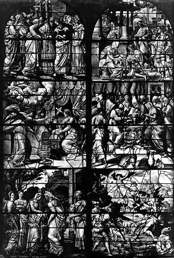 Eglise Saint-Gervais-Saint-Protais Vitrail, fragments, Leprévost (photographe),