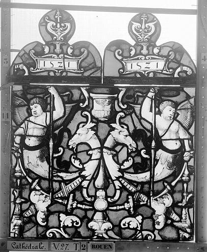 Cathédrale Vitrail, Chapelle Saint-Joseph, Vie de saint Romain, lancette médiane, premier panneau, en haut, Heuzé, Henri (photographe),