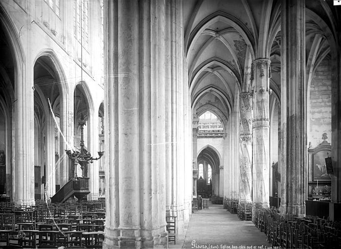Eglise Saint-Gervais-Saint-Protais Vue intérieure de la nef et du bas-côté sud vers le choeur, Mieusement, Médéric (photographe),