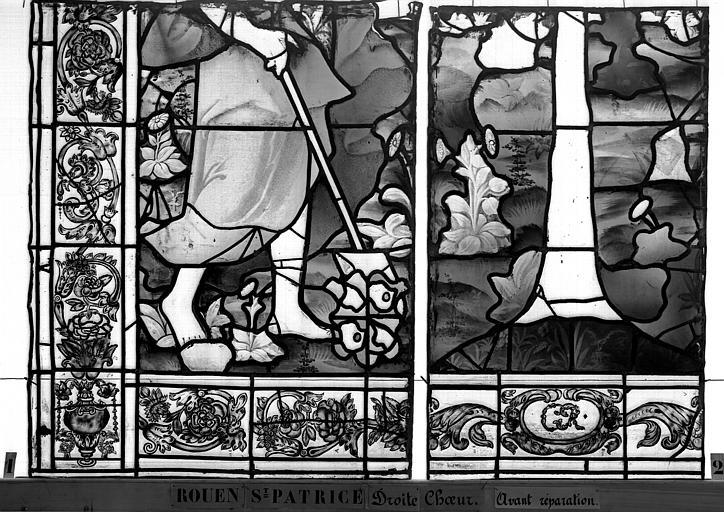 Eglise Saint-Patrice Vitrail, fenêtre droite du choeur, quatorzième panneau, Heuzé, Henri (photographe),