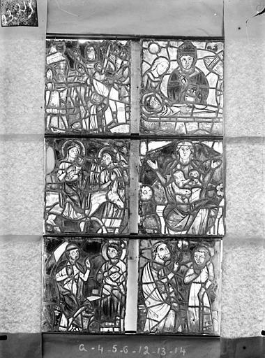 Cathédrale Saint-Etienne (ancienne) Vitrail de la chapelle absidiale, fenêtre G, les six panneaux supérieurs, Romanais (photographe),