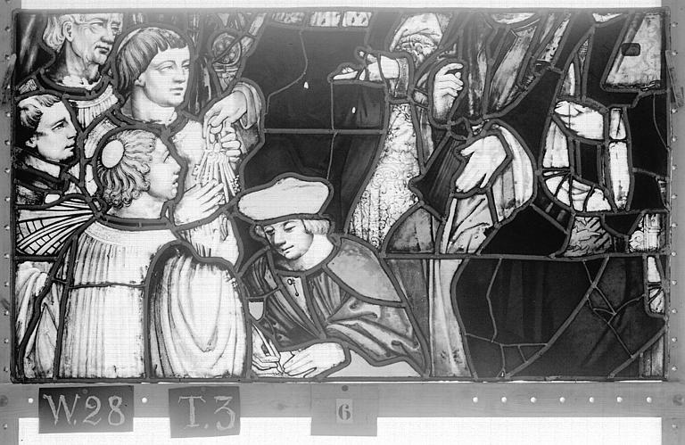 Cathédrale Vitrail, Chapelle Saint-Joseph, lancette de droite, Légende de saint Romain, sixième panneau, en haut, Heuzé, Henri (photographe),