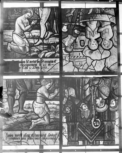Eglise Vitraux, panneau 12 de la baie A, panneau 6 dela baie B, panneaux 7 et 5 de la baie C, Nadeau, H. (photographe),