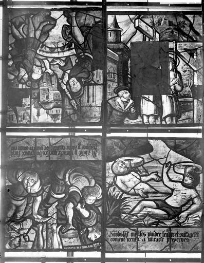 Eglise Vitraux, panneaux 9, 10, 11, 12 dela baie B, Nadeau, H. (photographe),