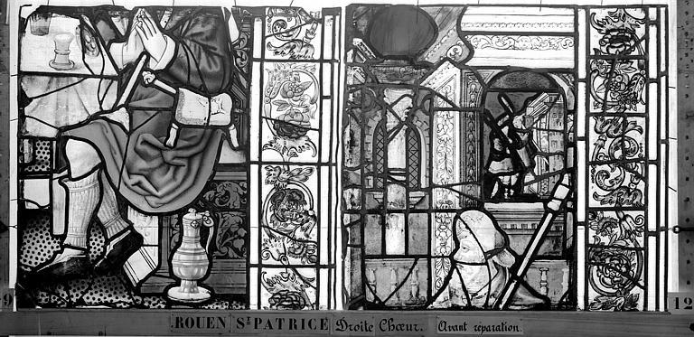 Eglise Saint-Patrice Vitrail, fenêtre droite du choeur, dixième panneau, Heuzé, Henri (photographe),