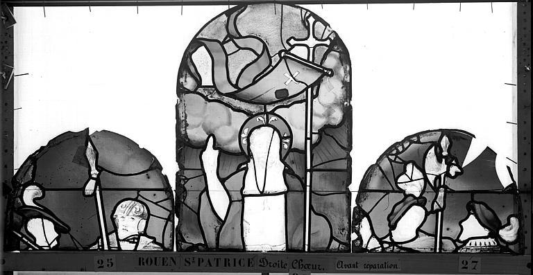 Eglise Saint-Patrice Vitrail, fenêtre droite du choeur, deuxième panneau, Heuzé, Henri (photographe),