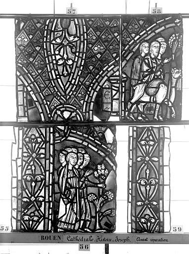 Cathédrale Vitrail, déambulatoire, baie 57, Histoire de Joseph, troisième panneau en haut, Heuzé, Henri (photographe),