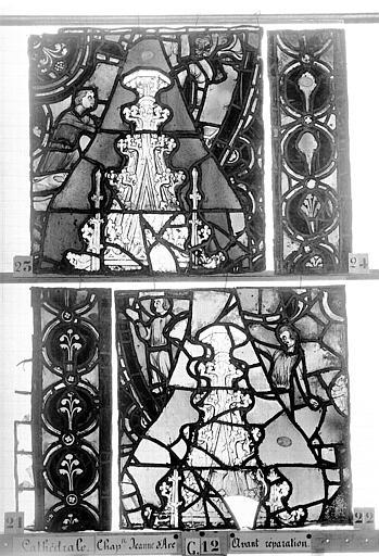 Cathédrale Vitrail, Chapelle Jeanne d'Arc, la Vierge et l'Enfant, saint jean, baie 36, cinquième panneau, en haut, Heuzé, Henri (photographe),