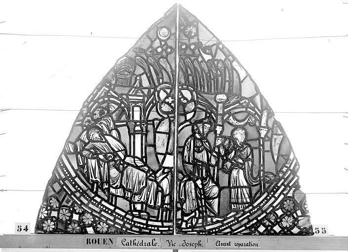 Cathédrale Vitrail, baie 59, Vie de Joseph, premier panneau, en haut, Heuzé, Henri (photographe),
