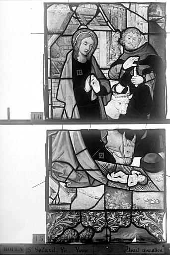 Eglise Saint-Godard Vitrail, baie 16, Vie de la Vierge, premier panneau, en haut, Heuzé, Henri (photographe),