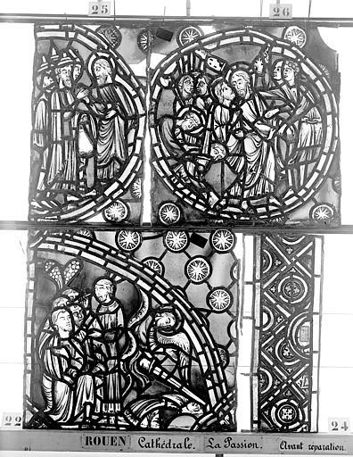 Cathédrale Vitrail, déambulatoire, la Passion, sixième panneau, Heuzé, Henri (photographe),