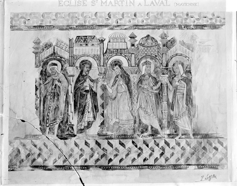 Eglise Saint-Martin (ancienne) Peinture murale d'après le relevé de Laffilée, Gossin (photographe),