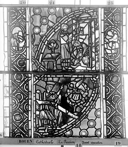 Cathédrale Vitrail, déambulatoire, la Passion, septième panneau, Heuzé, Henri (photographe),