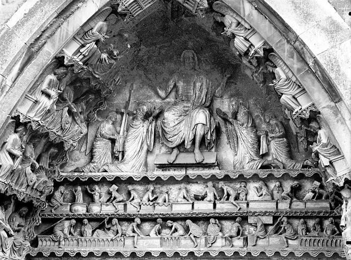 Cathédrale Notre-Dame Portail nord, portail de la Résurrection, tympan, parties hautes, Lajoie, Abel,