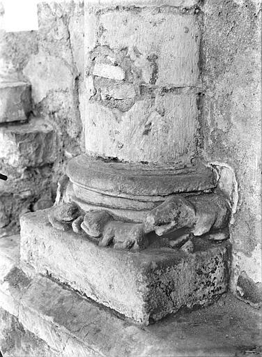 Eglise Saint-Hilaire-le-Grand Base de colonne : Animaux sculptés, Gossin (photographe),