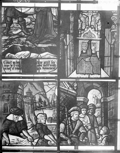 Eglise Vitraux, panneaux 4, 9, 10, 12 de la baie C, Nadeau, H. (photographe),