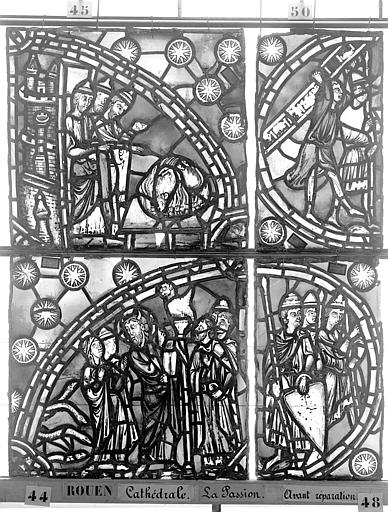 Cathédrale Vitrail, déambulatoire, la Passion, deuxième panneau, Heuzé, Henri (photographe),