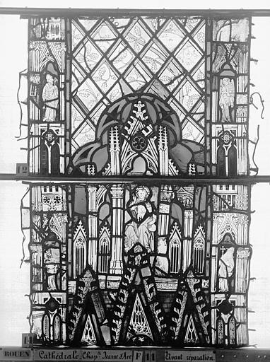 Cathédrale Vitrail, Chapelle Jeanne d'Arc, Baptême de saint jean, baie 38, deuxième panneau, en haut, Heuzé, Henri (photographe),