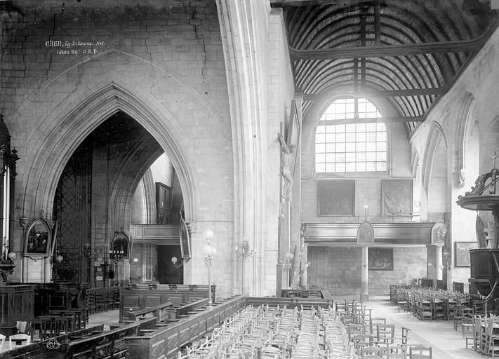 Eglise Notre-Dame-de-Froide-Rue (ancienne) ou Eglise Saint-Sauveur (actuelle) Nef, Durand, Eugène (photographe),