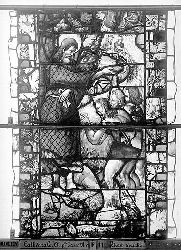 Cathédrale Vitrail, Chapelle Jeanne d'Arc, Baptême de saint jean, baie 38, sixième panneau, en haut, Heuzé, Henri (photographe),