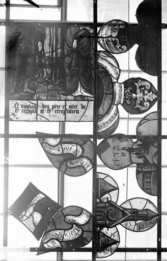 Eglise Vitraux, panneaux 13 et 14 de la baie A, panneaux 13 et 14 de la baie C, panneaux 15, 17, 19 de la baie D, Nadeau, H. (photographe),