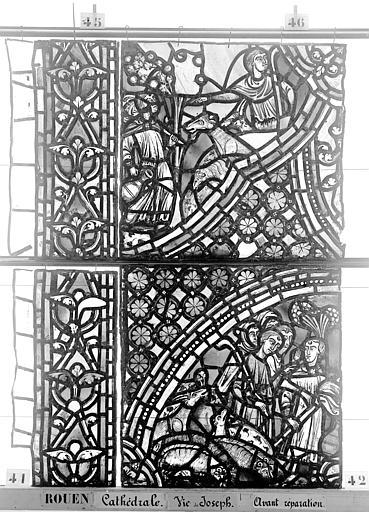 Cathédrale Vitrail, baie 59, Vie de Joseph, troisième panneau, en haut, Heuzé, Henri (photographe),