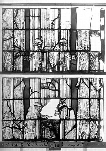 Cathédrale Vitrail, Chapelle Jeanne d'Arc, la Vierge et l'Enfant, saint jean, baie 36, huitième panneau, en haut, Heuzé, Henri (photographe),