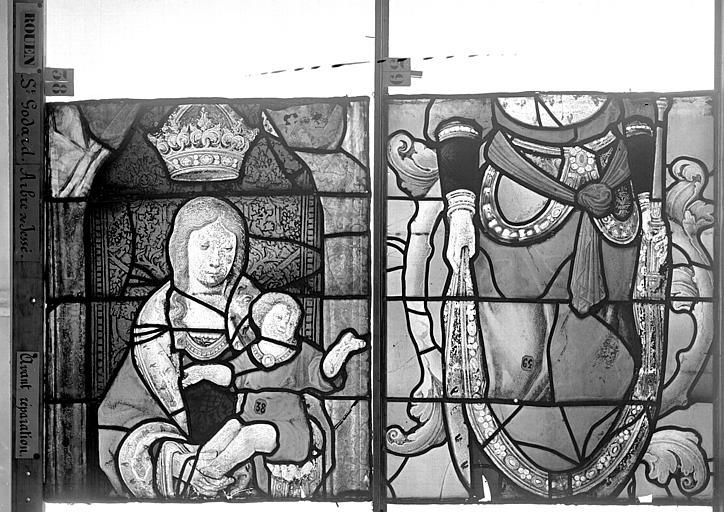 Eglise Saint-Godard Vitrail baie 18, Arbre de Jessé, deuxième panneau, en haut, Heuzé, Henri (photographe),