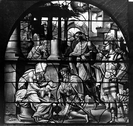 Eglise Saint-Gervais-Saint-Protais Vitrail, Adoration des Rois Mages, Leprévost (photographe),