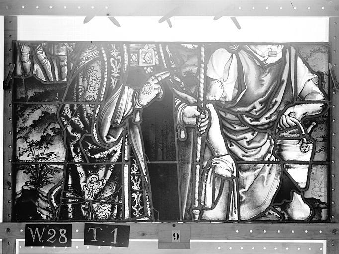 Cathédrale Vitrail, Chapelle Saint-Joseph, lancette gauche, Légende de saint Romain, troisième panneau, en haut, Heuzé, Henri (photographe),