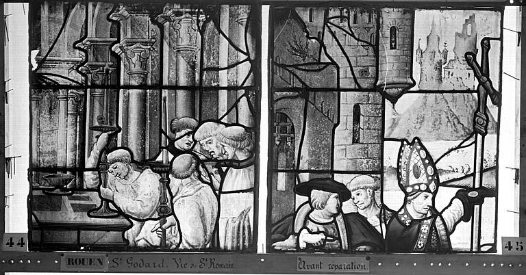 Eglise Saint-Godard Vitrail, baie 17, Vie de saint Romain, quatrième panneau, en haut, Heuzé, Henri (photographe),