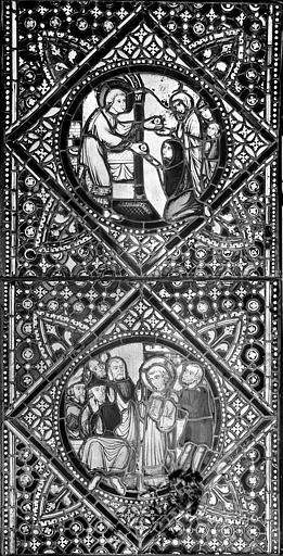 Cathédrale Saint-Jean Vitrail : Personnage saint donnant aux pauvres, ,