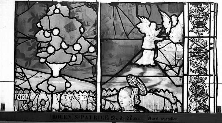 Eglise Saint-Patrice Vitrail, fenêtre droite du choeur, quinzième panneau, Heuzé, Henri (photographe),