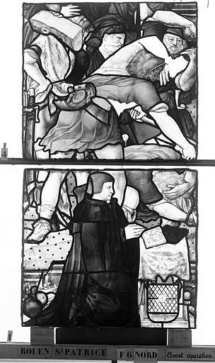 Eglise Saint-Patrice Vitrail, Légende de saint Eustache, lancette gauche, troisième panneau, Heuzé, Henri (photographe),