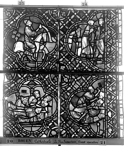 Cathédrale Vitrail, déambulatoire, baie 52, le Bon Samaritain, sixième panneau, en haut, Heuzé, Henri (photographe),