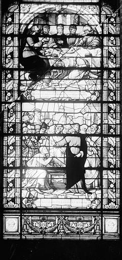 Hôpital Vitrail de la chapelle : Simon le lépreux accueille Jésus à sa table. La Résurrection de Lazare, Heuzé, Henri (photographe),
