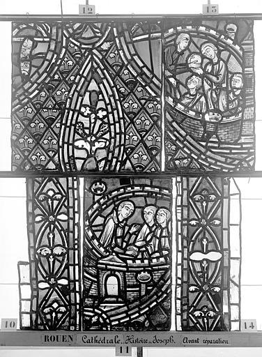 Cathédrale Vitrail, déambulatoire, baie 57, Histoire de Joseph, douzième panneau en haut, Heuzé, Henri (photographe),